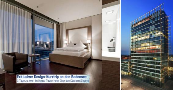 Bodensee: 2 ÜN/F für 2 Personen im DZ oder Junior-Suite inkl. 1x 3-Gänge-Menü Hegau Tower Hotel für 159 €